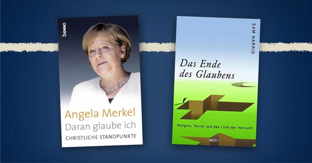 Bild zum Beitrag: Was glaubt ein Atheist? Buchcover von Merkels »Daran glaube ich« + Harris' »Das Ende des Glaubens«
